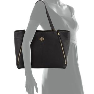 NEW Tory Burch Ivy Zip Tote bag in black leather